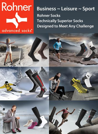 Rohner Advanced Socks - Socks Designed to Meet Any Challenge. Rohners of Switzerland since 1933 Rohner has placed value on both traditional and innovative production methods.  A range of quality business or casual socks as well as socks for many activities. From walking socks as suited to both a local hike or trekking in the Himalayas, or running socks as suited for a jog after work to running a marathon - our Rohner socks at SocksFox are the choice for you.