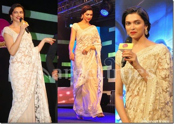 Deepika_Padukone_Cream_Net_Saree