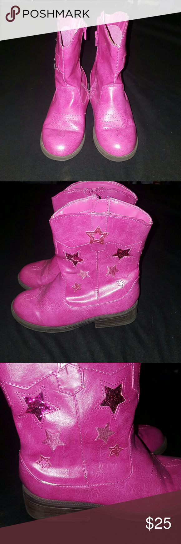 Girls pink cowgirl boots Super cute pink cowgirl boots! Good condition, minimal wear and tear. Cherokee Shoes Boots