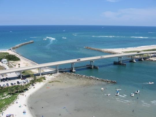 The Blue Sky And Waters Of The Sebastian Inlet And