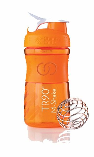 TR90 M-Shake Bottle Created with equal parts style, innovation and versatility, the TR90 M-Shake Bottle is perfect for your TR90 M-Shake. Made from the highest-quality materials, BPA and Phthalate free, this 20 oz/590 ml BlenderBottle features a secure screw-on lid, wide mouth for easy mixing, convenient carrying loop and a flip cap design.