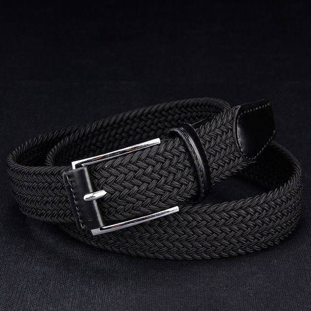 Men's elastic waistband elastic belts boys stretch braided man black canvas …   – Products