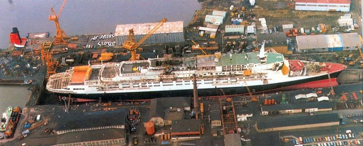From October 1986 to May 1987, RMS Queen Elizabeth 2 underwent a major refit at the Lloyd Werft yard at Bremerhaven in Germany transforming her from an ageing steamship to a state of the art diesel-electric motorship. This refit, costing 162 million dollars, was hugely successful and allowed the ship to sail on for another 20 years as the Cunard flagship.