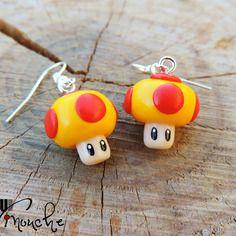 Boucles d'oreilles champignon mario kart rouge et jaune toad (fimo)