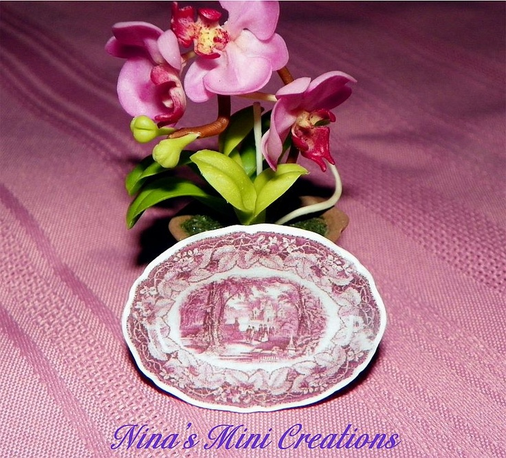 Pink Toile Platter with a beautiful Victorian scene. Please see listings & prices at www.ninasminicreations.com