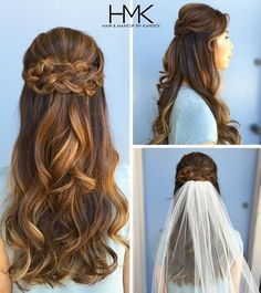 "34 Likes, 2 Comments - Hair and Makeup by Kandice (@hairandmakeupbykandice) on Instagram: ""Wedding season continues with a beautiful half-up, half-down braid style!  #longhair #blondehair…"""