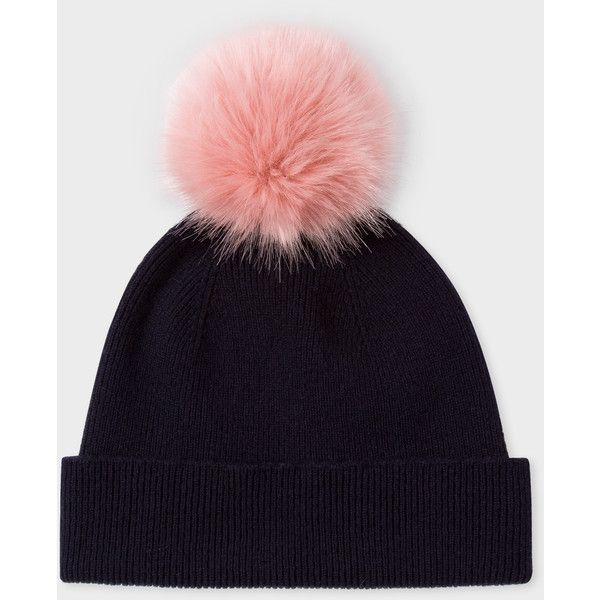 Paul Smith Women's Navy Lambswool Pink Bobble Hat ($72) ❤ liked on Polyvore featuring accessories, hats, pink hats, navy hat, bobble beanie, beanie bobble hat and bobble hat