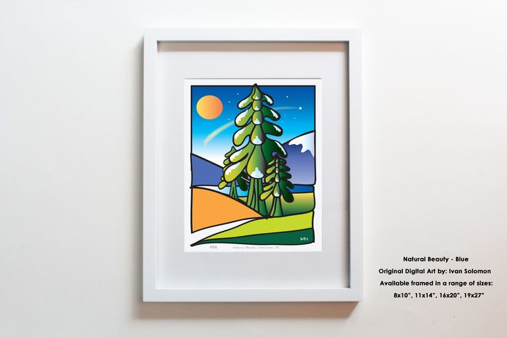 Natural Beauty. Inspired by the incredible natural beauty of the Pacific Northwest. This colourful artwork is also available with a pink or orange background.