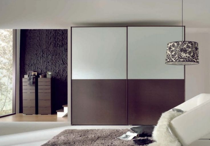 White Coffee Sliding Door Wardrobe As Well As Oversized Floral Pendant Light Also White Puffy Sofa And Black Cushion Plus Grey Shaggy Rugs Design Ideas And Textured Black Walls Design Ideas: Beautify Your Room with Modern Minimalist Wardrobe Designs