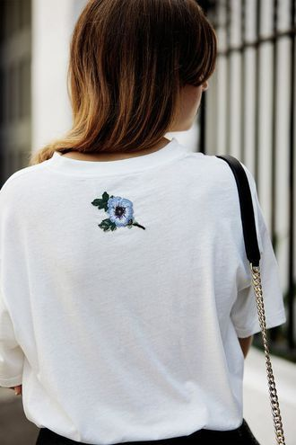 $25 Cute Simple Minimalistic Plain White T-Shirt With Small Light Blue Flower Embroidery Pattern Street Style Casual