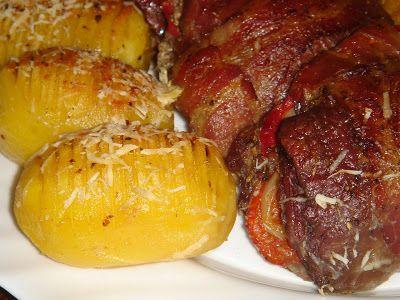 Nem vagyok mesterszakács: Cserépben sült, színes zöldségekkel töltött magos mustáros hátszín, parmezános fésült krumplival, sült fokhagymás pecsenyelevével