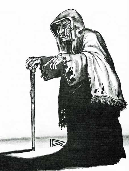 "The hideous, ancient, extremely powerful witch Baba Yaga.  (Roger Raupp from ""The Dancing Hut"" by Roger Moore, Dragon magazine No. 83, March 1984.)"