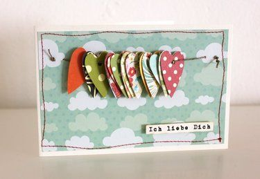 fun card with loose items stringed across - so simple, yet super fun!