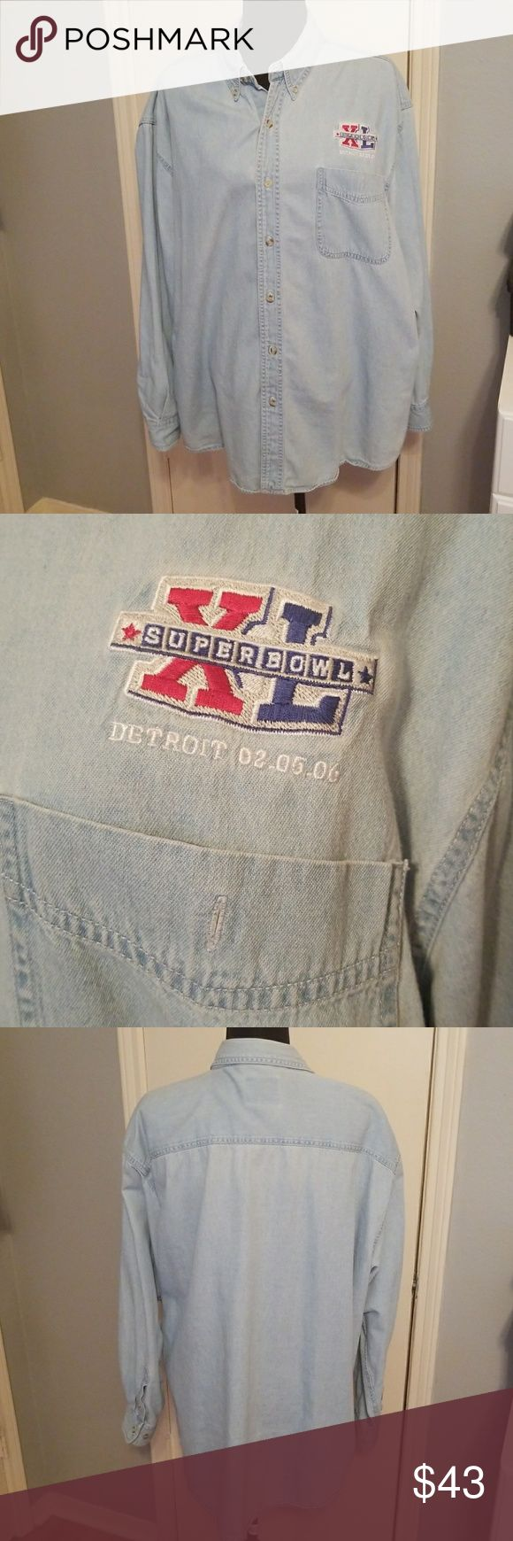 "2006 Super Bowl Denim Shirt Authentic NFL 2006 XL Super Bowl Faded Denim button down Shirt. Embroidered ""Super Bowl XL Detroit 02.05.06"" over chest pocket. Long sleeves, size XL. Great shape. NFL Shirts Casual Button Down Shirts"