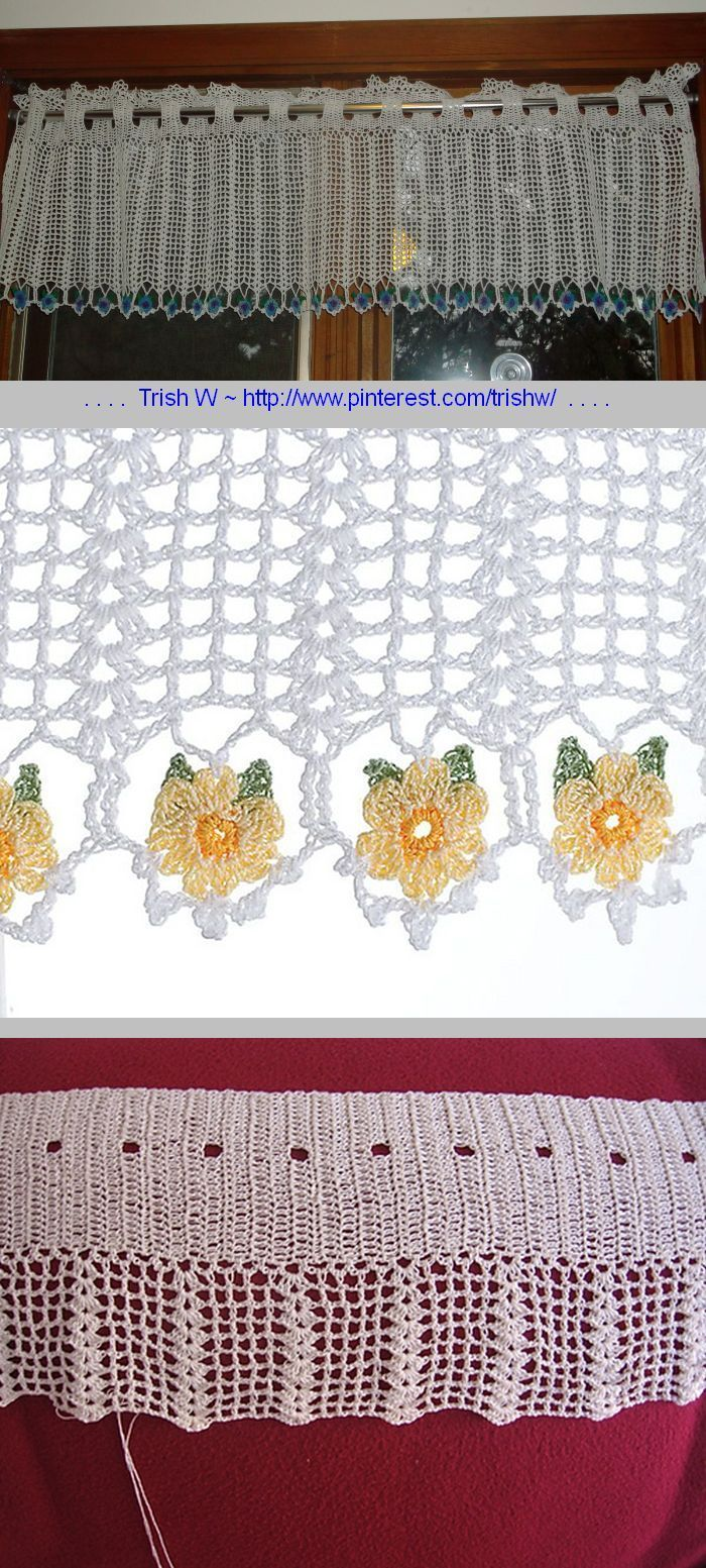 """Daisy Valance, free pattern by Diane Stone for Talking Crochet Newsletter. 700 yds white cotton thread size 10, steel hook size 6/1.80mm.  1"""" flower motifs made separately.  Finished pattern size 14"""" x 45"""". To calculate valance size: Multiply width of window by 1-1/2. Length should be 1/4 the window height plus one inch.  . . . .   ღTrish W ~ http://www.pinterest.com/trishw/  . . . .  #crochet  #curtain #lacy"""