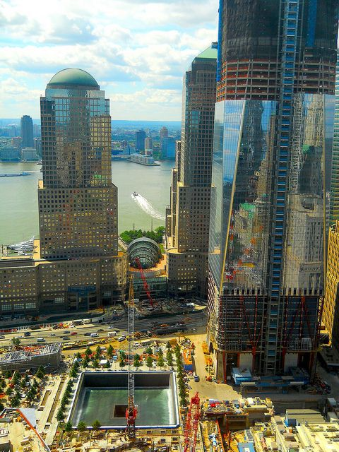 NYC. Watching the World Trade Centre site coming to life again from the Millennium Hilton Hotel..