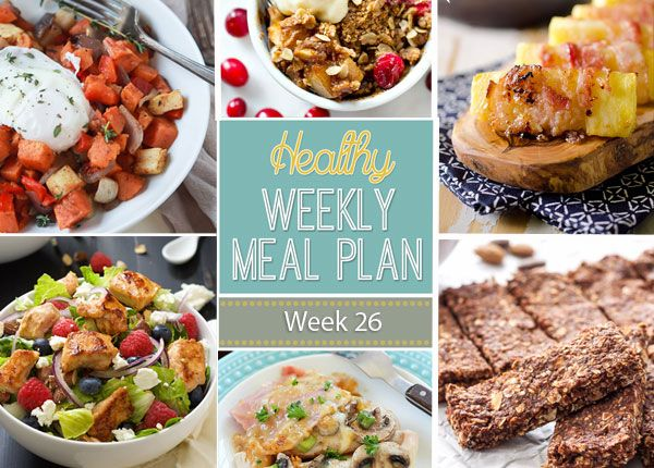 A delicious mix of healthy entrees, snacks and sides make up this Healthy Weekly Meal Plan #25 for an easy week of nutritious meals your family will love!