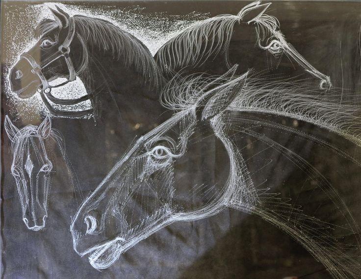 Studiu de cai.sticla gravata