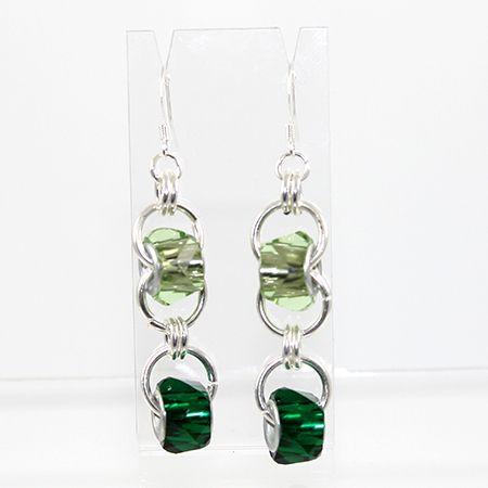 Chain Maille Double Euro Drop Earrings - Green