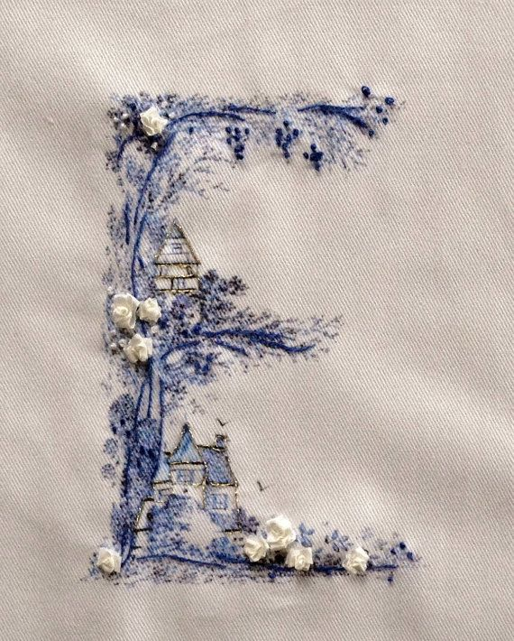 Letter monogram Silk ribbon embroidery kit by FrenchDecoChic