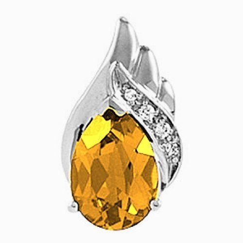 Platinum Pear Cut Citrine and Diamond Pendant Gems-is-Me. $436.02. This item will be gift wrapped in a beautiful gift bag. In addition, a 'gift message' can be added.. FREE PRIORITY SHIPPING. Save 40% Off!