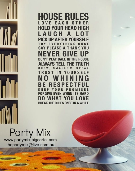 """Image of Wall Sticker- """"House Rules"""""""