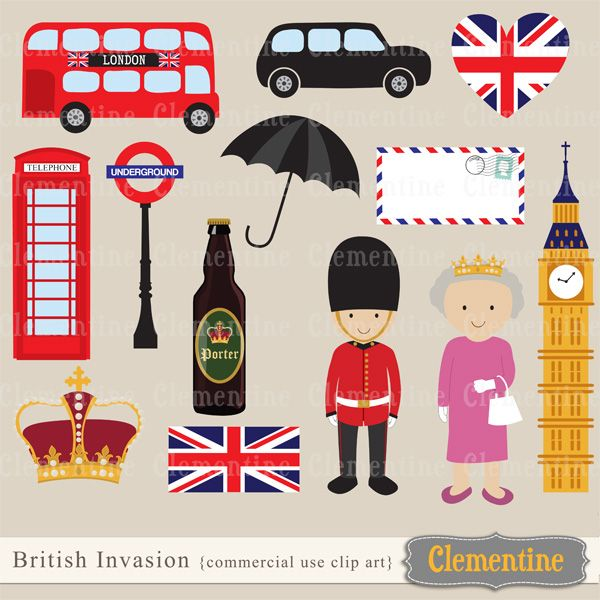 British Invasion clip art,  perfect for use in cards or invitations.    Clip art  measures approximately 6 inches high.   Watermark on  preview only.