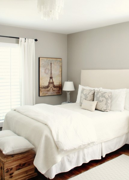 "Sherwin Williams ""Amazing Gray"" combined with creams and whites results in a soothing guest bedroom"