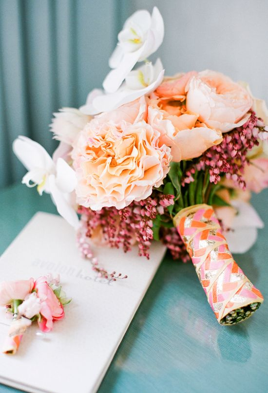 peach and pink ribbon-wrapped bouquet