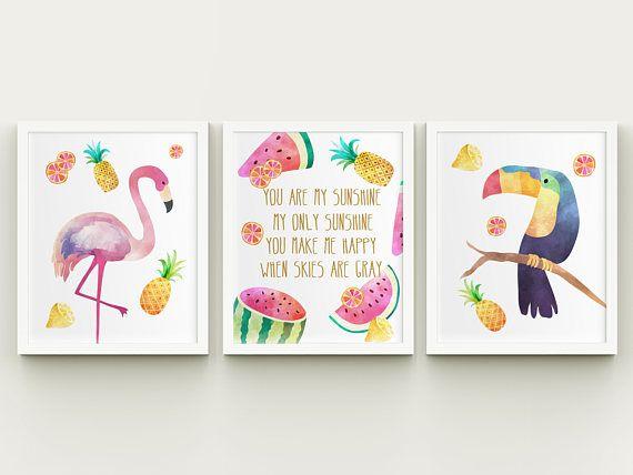 Girl nursery you are my sunshine printable art set baby girl