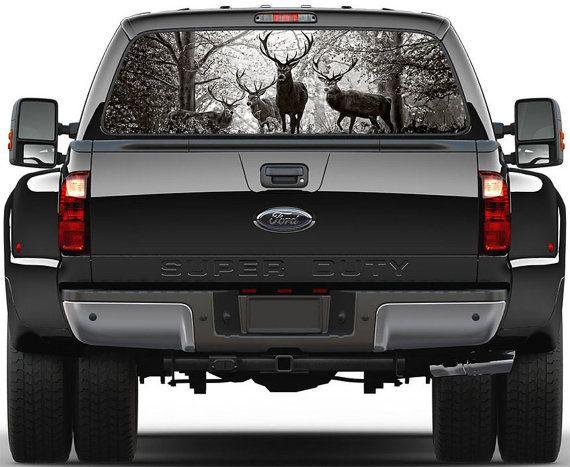 Deer Buck B/W Rear Window Graphic Decal for Truck SUV by ArtVint, $49.95