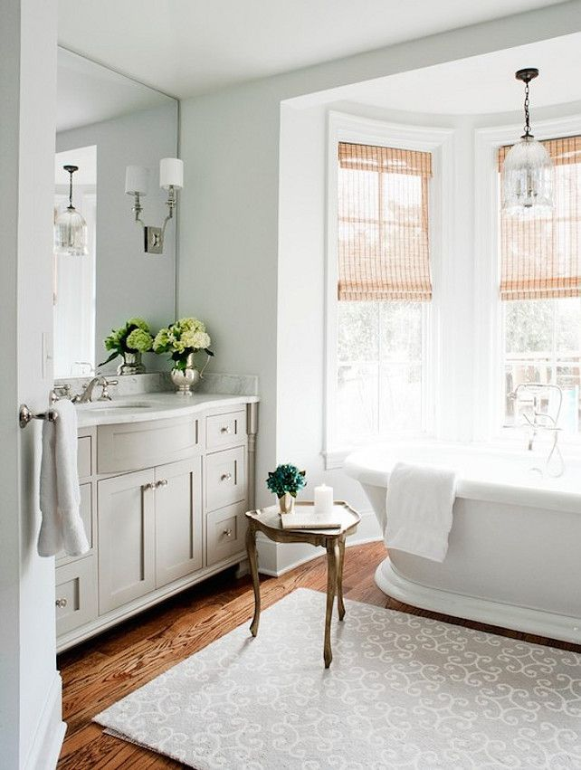 Laura Casey Interiors   Bathrooms   Regina Andrew Lighting Hanging Antique  Glass Pendant, Bathroom Bay Window, Tub In Bay Window, Bath In Ba. Part 85