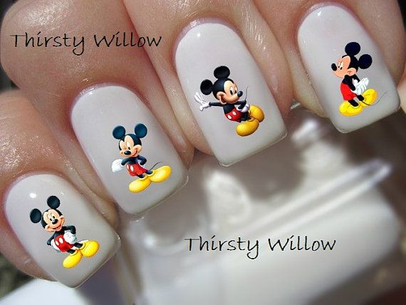 The Mickey Mouse transfers are clear and can be polished with a clear top coat to give extra shine or adhere to your already painted nails. Results