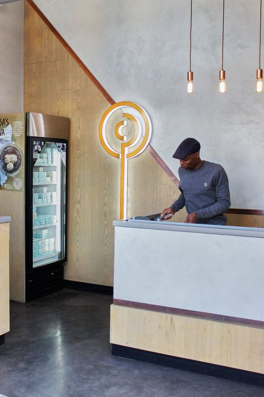 Paul's Homemade Ice-Cream - Artisanal Cemcrete Finishes used for their Hyde Park & Rivonia stores
