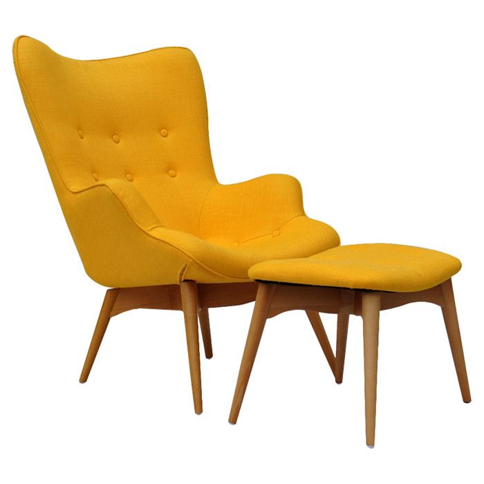 Midcentury inspired Arm Chair & Ottoman // great bold yellow + love the shape