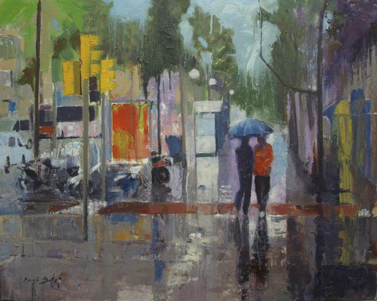 Magi Batet_ Día de lluvia I- 81X65 cm. Pintura al óleo sobre tela de 81X65 cm.