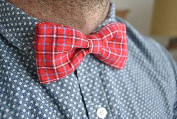Men's Bow Tie #mensbowtie #red #plaid #dapper