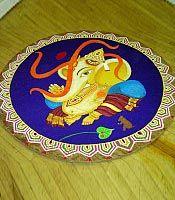 Rangoli depicting Hindu God Ganesha