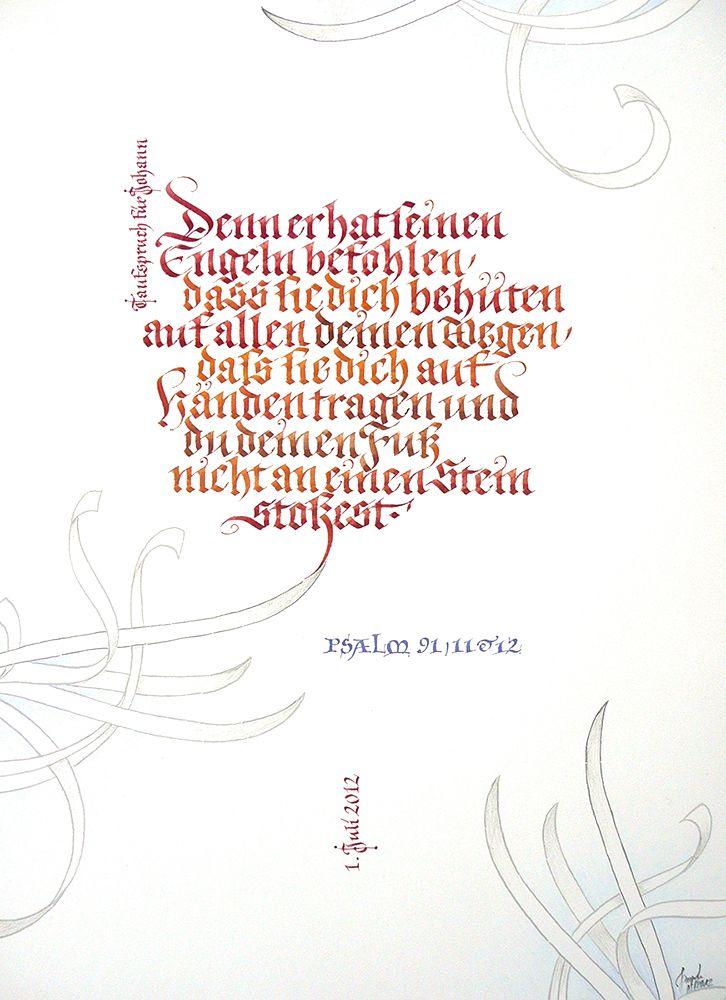 Taufspruch Psalm 91 Calligraphy Kalligrafie Taufe