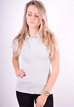 Ralph Lauren Womens Vintage Polo Shirt Size 10 Grey 90's