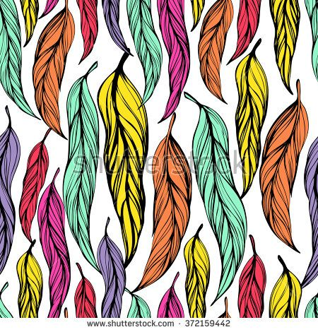 Seamless background with beautiful feathers of a bird. Repeating texture. Fabric design, background, wallpaper. Boho Style, hand drawn - stock vector