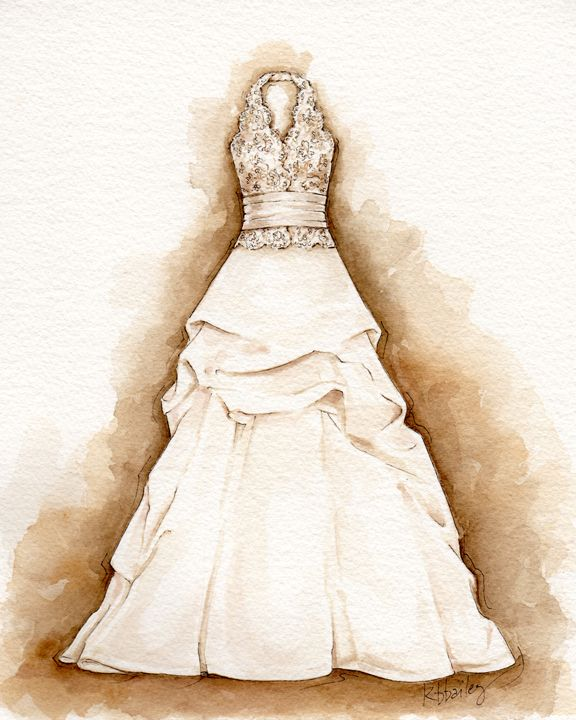 artist Kristina Bailey paints custom watercolor portraits of wedding dresses.  Image via www.PortraitofADress.com