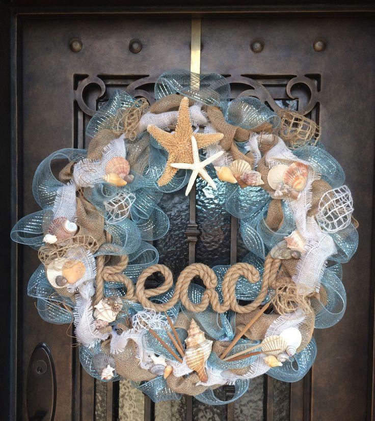 beach themed deco wreath by memoriesinminutes on Etsy https://www.etsy.com/listing/209251879/beach-themed-deco-wreath