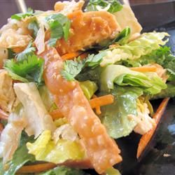 """This is one of my favorite salads. It tastes so good you wouldn't even suspect it's low-fat. Wonton wrappers (or skins) can be found in the deli or produce section of most supermarkets."""