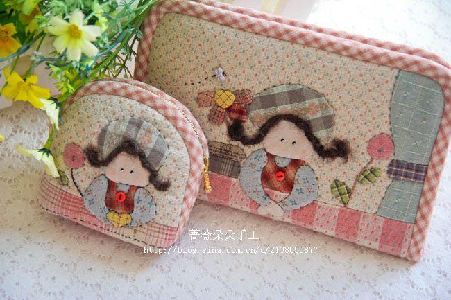 手工布艺diy材料包 先染拼布材料包 倚窗女孩贝壳包 零钱包特价-淘宝网