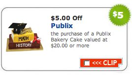 There is a great new printable Publix Coupon available!  This coupon is for $5 off any Publix Bakery Cake $20 or more.   I'm THRILLED to see this coupon.  We have a Publix Cake ordered for o...