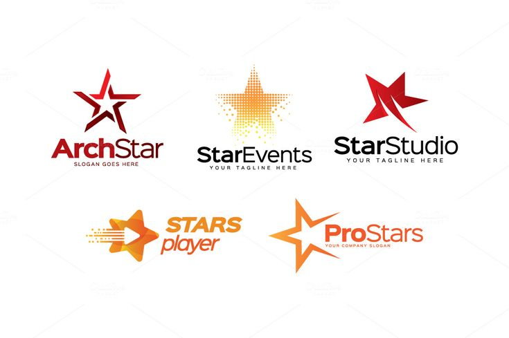 5 Premium Star Logos by LogoLabs on Creative Market