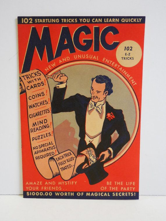Vintage Magic Tricks book Kids 1944 Magical secrets 102 Easy tricks Magician graphics illustrated booklet