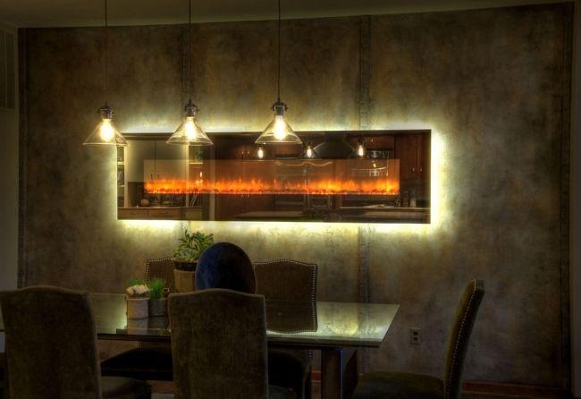 elektrokamin fernbedienung lichteffekte hinterleuchtet esszimmer