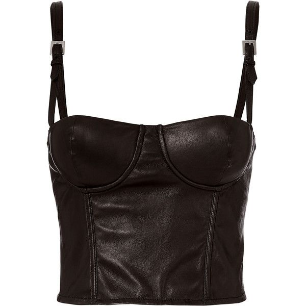 Fleur Du Mal Leather Bustier Top ($595) ❤ liked on Polyvore featuring tops, black, leather tops, leather bustier, fleur du mal, leather bustier top and bustier tops